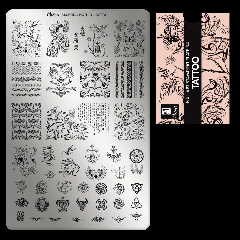 Moyra nagu štancēšanas plāksne 34 tetovējums